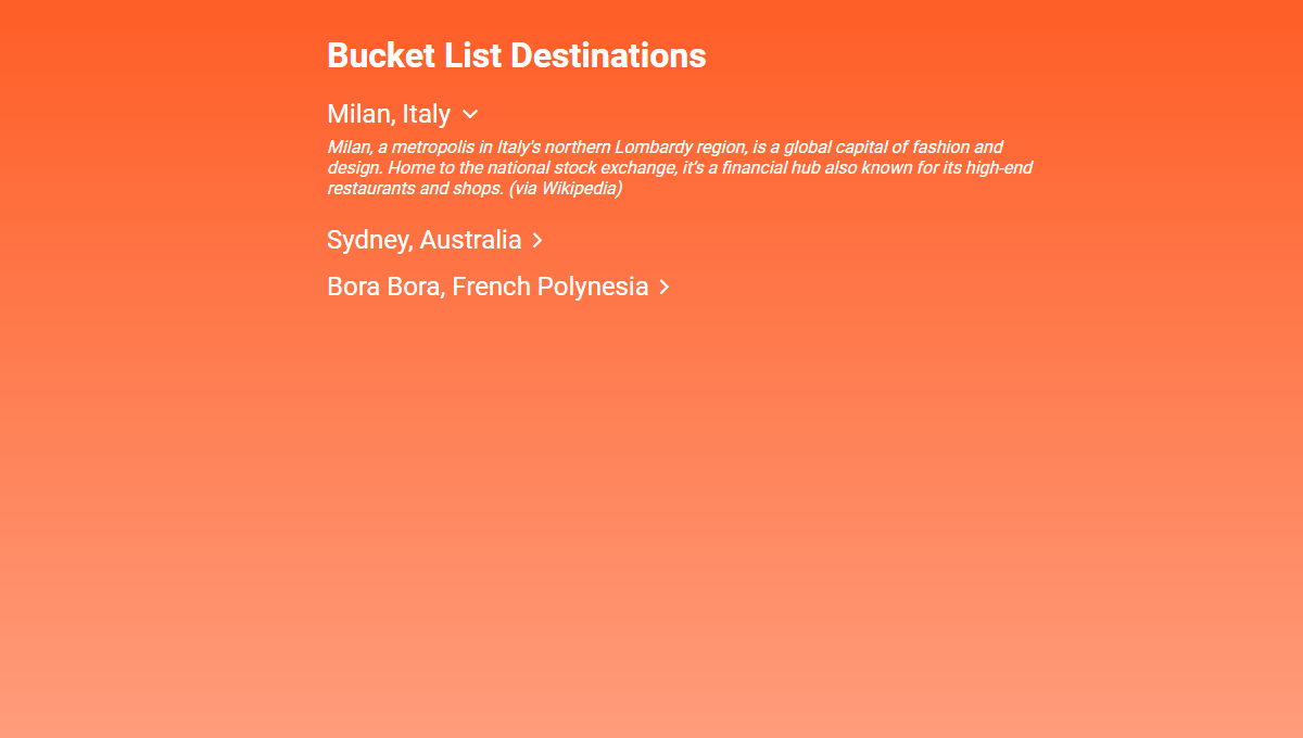 Demo image: Bucket List Destinations