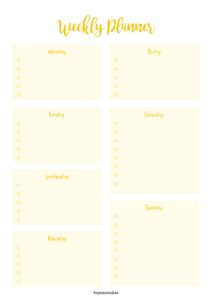 Weekly Planner Yellow