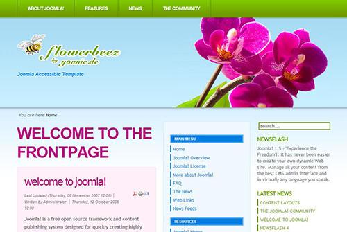 Бесплатные темы для Joomla - flowerbeez